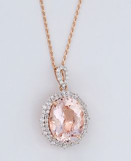 14K Rose Gold Pendant, with an 11.04 carat oval morganite