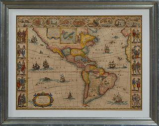 "Map: Giuilielmo Blaeuw (1600-1699), ""Americae Nova Tabula,"" c. 1622, copper plate engraving of the Western Hemisphere with full colo..."