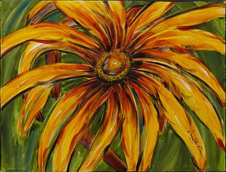 "Margaret Orr (New Orleans), ""Flower,"" 20th c., oil on canvas, signed lower right,"" gallery wrapped, H.- 18 in., W.- 24 in."