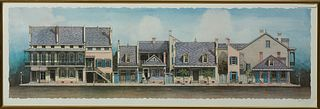 "Jim Blanchard (1955-, New Orleans), ""Creole Townhouses,"" 20th c., colored print, pencil signed lower right margin, presented in a gi..."