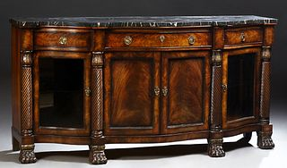 "Large Carved Mahogany Marble Top Sideboard, 20th c., by Henredon, from the ""Natchez"" collection, the thick serpentine highly figured..."