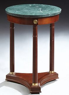 French Empire Style Marble Top Ormolu Mounted Mahogany Occasional Table, the green circular figured marble over a wide skirt, on thr...