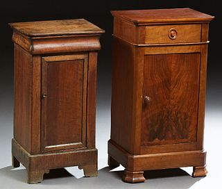 Two French Louis Philippe Carved Walnut Nightstands, c. 1860, each with a rectangular top above a single drawer and a long cupboard...