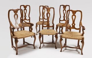 Six Fruitwood Italian Dining Chairs