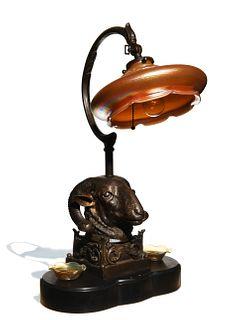 Bronze Ram Lamp with Loetz Glass Shade