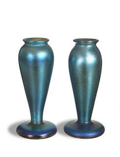 2 Quezal Blue Aurene Vases