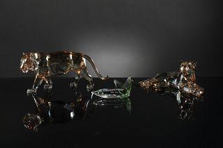 3 Boxed Swarovski SCS Lion Mother and Tiger