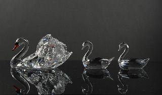 2 Boxed Swarovski Crystal Large Swan and Swan Pair
