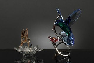 2 Boxed Swarovski Crystal Humming Birds