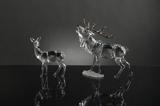 2 Boxed Swarovski Silver Crystal Stag and Doe
