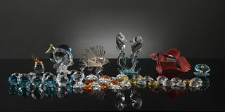 9 Boxed Swarovski Colored Crystal Aquatic Figures