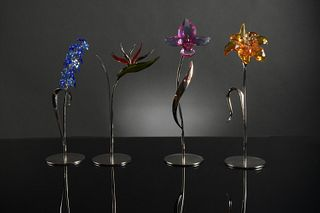 4 Boxed Swarovski Colored Long Stem Flowers