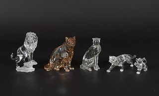 7 Boxed Swarovski Big Cats, Book and Sketch