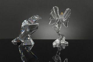 2 Boxed Swarovski Crystal Eagle, Silver Bald Eagle