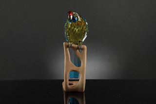 Boxed Swarovski Crystal Green Rosella, Jonquil