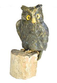 Carved Labradorite 'Screech Owl'