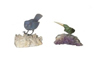 Carved Lavender Jade Songbird and Green Stone Bird
