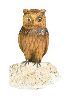 Carved Tiger's Eye 'Owl'