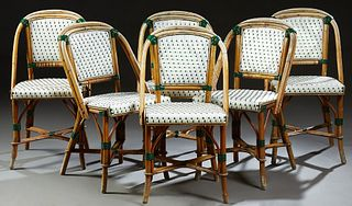 Set of Six French Bentwood Bistro Chairs, 20th c., the arched woven plastic back and seat, on faux bamboo legs, joined by an X-form...