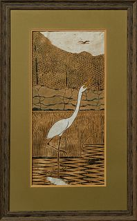 """James """"Mac"""" Anderson (1907-1998, Mississippi), """"Great Egret,"""" 1981, block print and watercolor, signed and dated lower right, presen..."""
