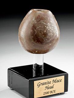 Egyptian Old Kingdom Pink Stone Mace Head
