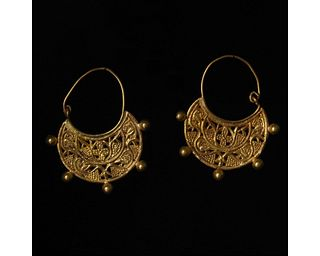 EARLY BYZANTINE GOLD OPEN-WORK EARRINGS