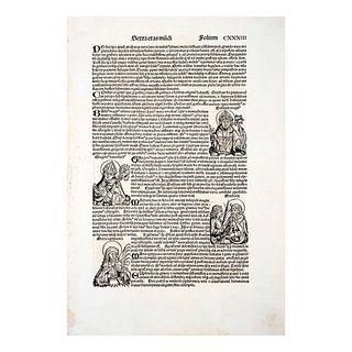 Schedel, Hartmann. Folio CXXXIII. Grabado sobre papel del Serta Etas Mudi. Nuremberg Koreberg Anton 1493.