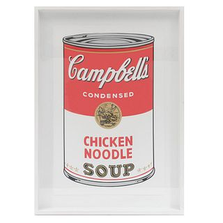 "Andy Warhol. II.45: Campbell´s Chicken Noodle Soup. Con sello en la parte posterior ""Fill in your own signature"". Serigrafía. Enmarcado"