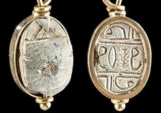 Egyptian Steatite Scarab, Gilded Pendant Setting