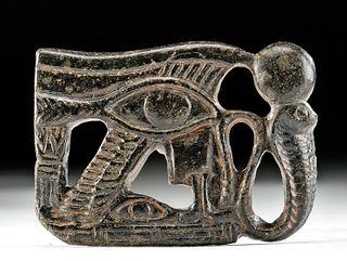 Egyptian Steatite Wadjet Amulet w/ Uraeus & Sun Disc