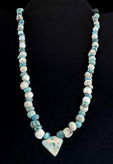 Romano Egyptian Faience & Glass Bead Necklace