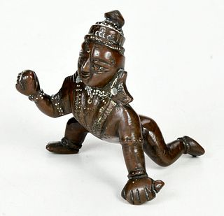 Patinated Bronze Hindu Figure of Krishna