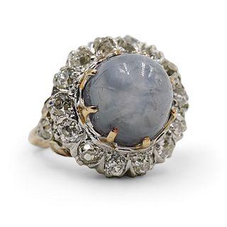 Vintage 18k Gold & Star Sapphire Ladies Ring