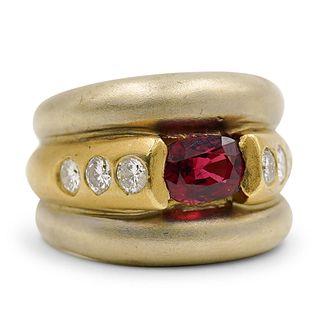 Vintage 18k Gold Ruby Diamond Ring