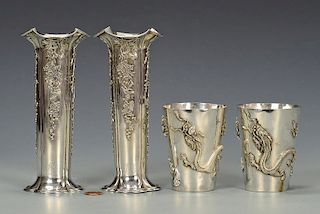 Chinese Export Silver Vases, Cups
