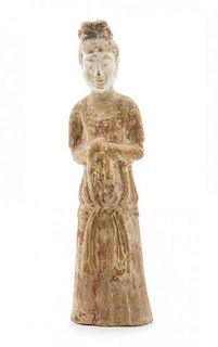 A Pottery Figure of a Court Lady Height 12 inches.