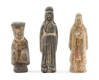 * Three Chinese Tang and Han Dynasty Pottery Figures Height of tallest 8 1/2 x width 2 1/2 inches.