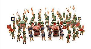 A Collection of Chinese Carved Terra Cotta Miniatures Height of tallest 2 1/4 inches.