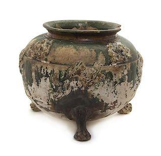 * A Sancai Pottery Tripod Vessel Width of widest 8 1/4 inches.