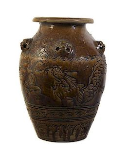 A Large Brown Glazed Ceramic Jar Height 20 1/4 inches.