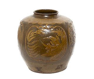 * A Brown Glazed Ceramic Pottery Jar Height 13 1/2 x width 13 inches.