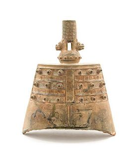 * A Chinese Green Glazed Ceramic Archaistic Bell Length 4 3/4 x width 6 3/4 inches.