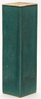 A Monochrome Green Glazed Stoneware Pillow Width 15 1/4 inches.