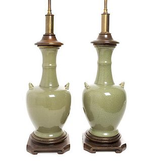 * A Pair of Celadon Porcelain Vases Height of vase 14 inches.