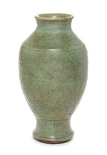 A Longquan Celadon Glazed Vase Height 12 1/4 inches.