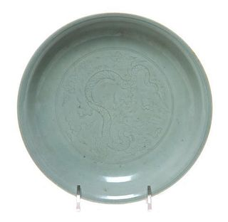 * A Celadon Glazed Porcelain Footed Dish Diameter 7 1/8 inches.