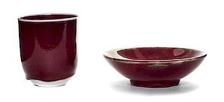 * Two Chinese Style Copper Red Glazed Articles Height of larger 4 x diameter 3 1/2 inches.