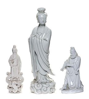 * A Blanc-de-Chine Figure of Guanyin Height of tallest 14 3/4 inches.