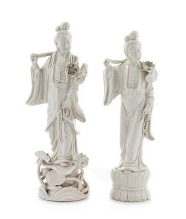 Two Blanc-de-Chine Porcelain Figures of Meiren Height of taller 13 1/2 inches.