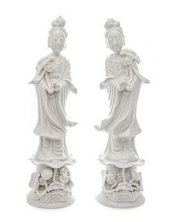 A Pair of Blanc-de-Chine Porcelain Figures of Meiren Height of pair 12 1/2 inches.